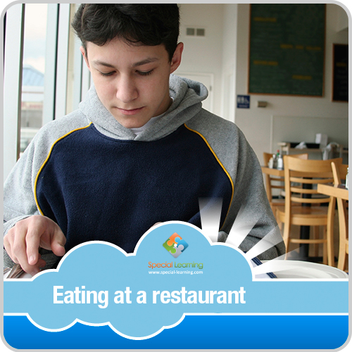Eating at a Restaurant Boy Visual Schedule: image 1