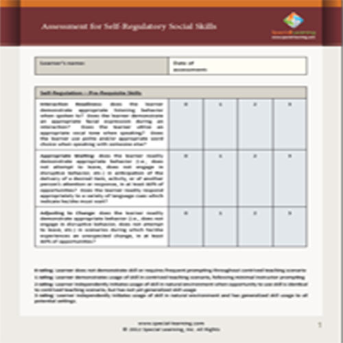 Assessment for Self-Regulatory Social Skills: image 1
